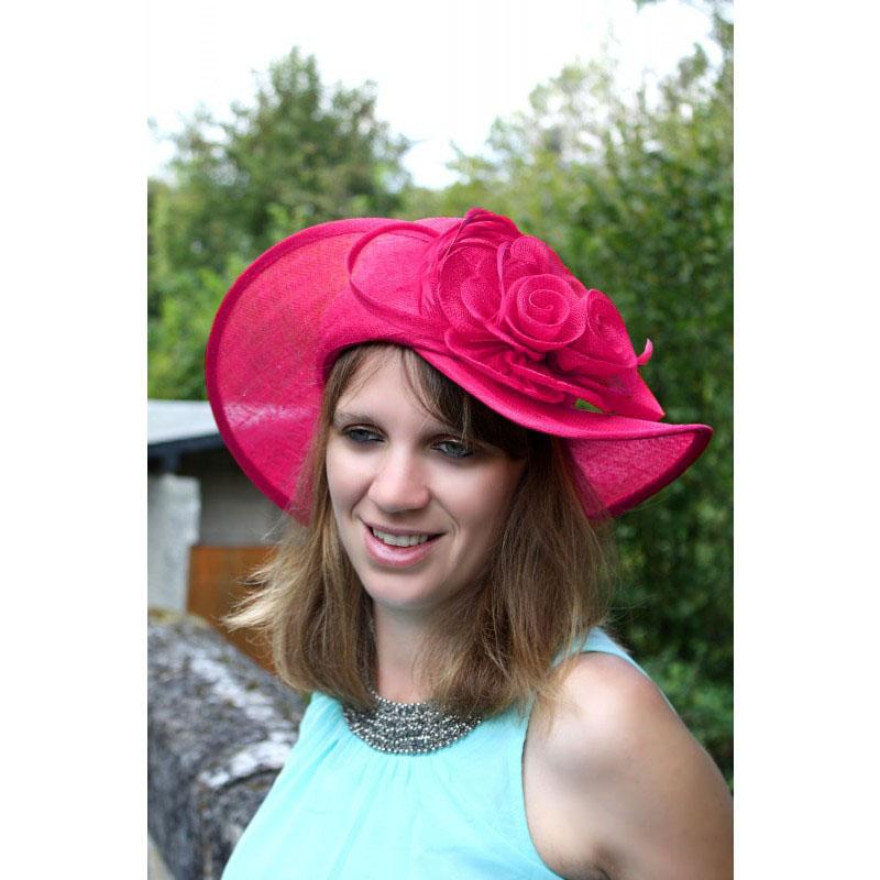 chapeau mariage capeline rose fushia neuf ebay. Black Bedroom Furniture Sets. Home Design Ideas