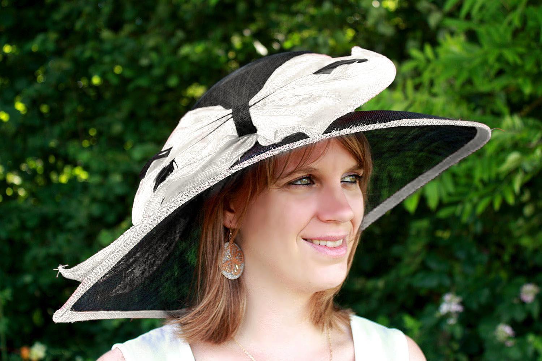 chapeau mariage ceremonie sisal plume noeuds noir ivoire. Black Bedroom Furniture Sets. Home Design Ideas