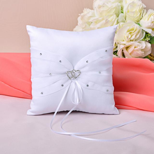 Coussin mariage porte alliances coeur strass ruban neuf ebay - Porte alliances mariage ...