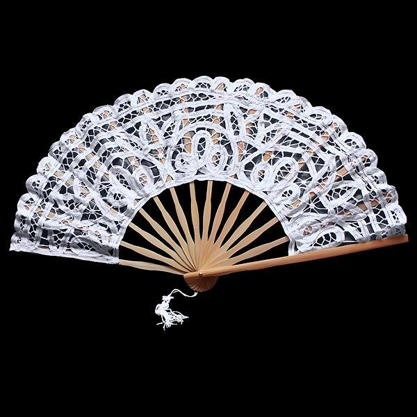 eventail mari e coton broderie dentelle floral mariage blanc neuf ebay. Black Bedroom Furniture Sets. Home Design Ideas
