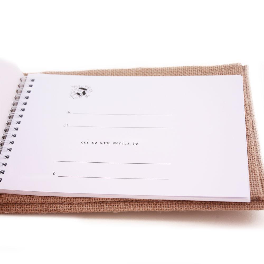 Livre d 39 or mariage mod le champetre jute dentelle neuf ebay - Livre d or toile de jute ...