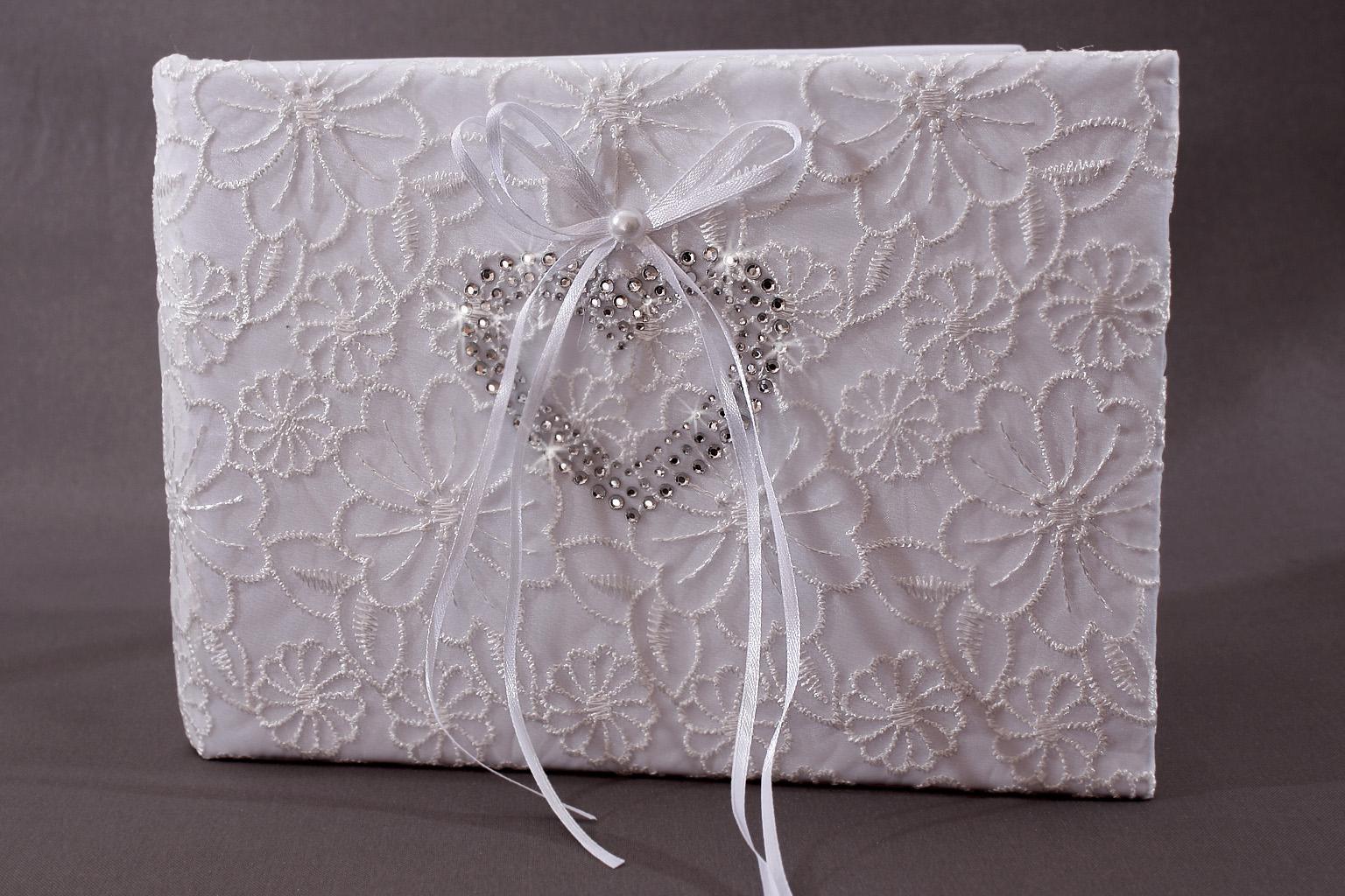 livre d 39 or mariage blanc broderie fleur coeur strass neuf ebay. Black Bedroom Furniture Sets. Home Design Ideas