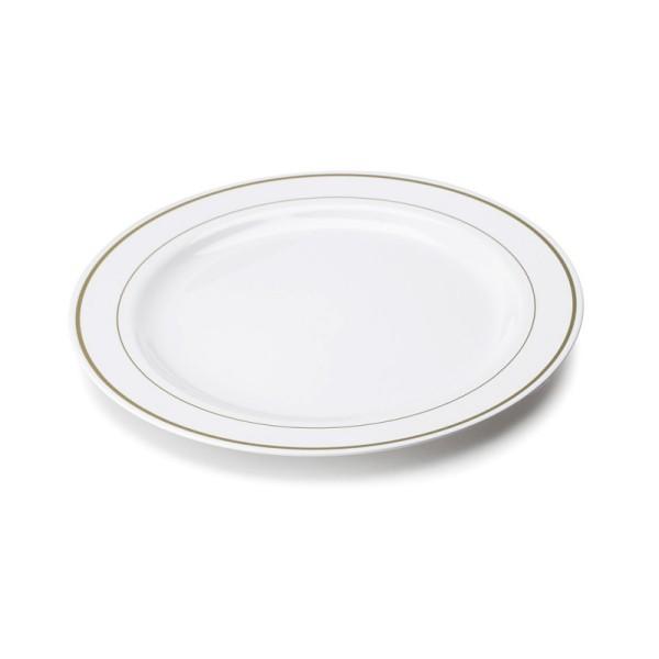 Assiette Jetable Blanche Lisere Or 23cm