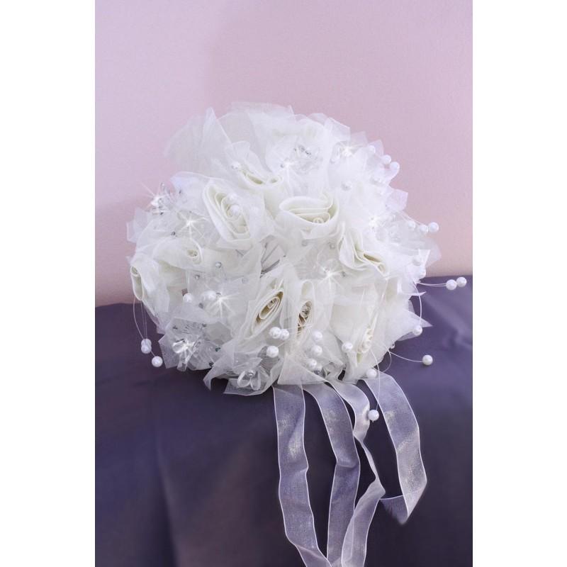 bouquet de mari e rond fleurs strass perles blanc ivoire. Black Bedroom Furniture Sets. Home Design Ideas