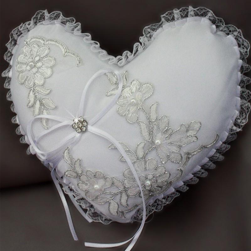 coussin coeur mariage porte alliances noeud blanc strass bordure argente