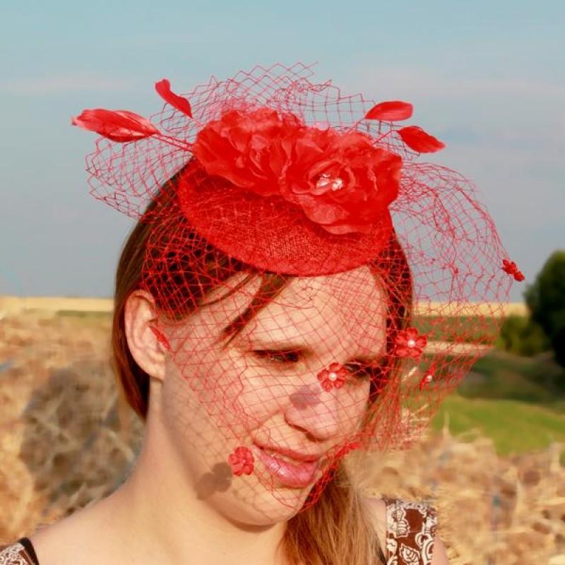serre tte chapeau bibi mariage voilette perles fleur plumes rouge - Bibi Mariage Voilette