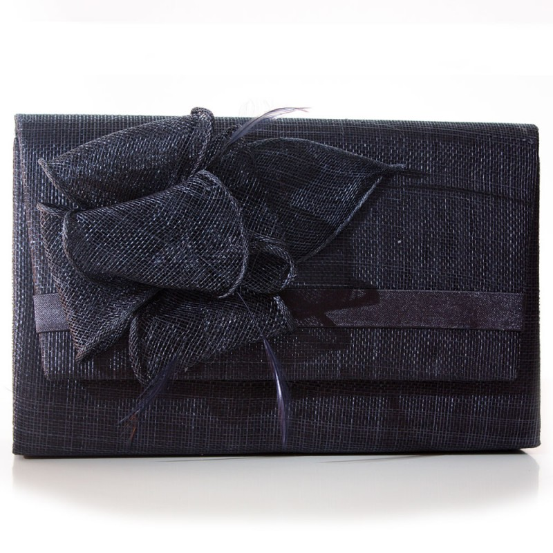 sac pochette mariage noeud fleur sinamay ivoire bleu. Black Bedroom Furniture Sets. Home Design Ideas