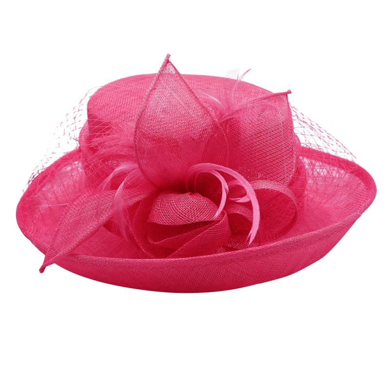 Chapeau Fleur Bouton Voilette Plume Mariage Rose Fushia