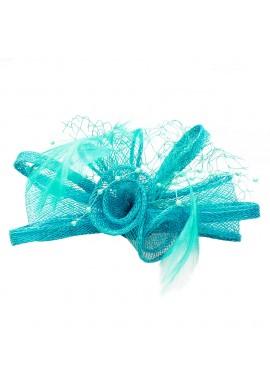 Pince Broche Mariage Voilette Sisal Perlées Plumes Bleu Vert