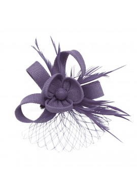 Pince Broche Mariage Voilette Sisal Trèfles Plumes Violet
