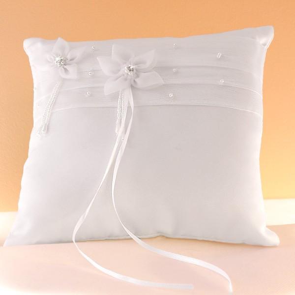 Coussin mariage porte alliances ruban fleur perles strass blanc ivoire - Porte alliance mariage ...