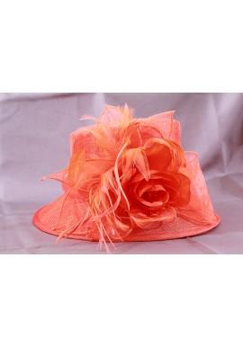 Chapeau Haut de Forme Chapelier Mariage Noeud Fleur Orange