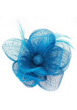 Pince Broche Mariage Fleur Plumes Bouton Bleu