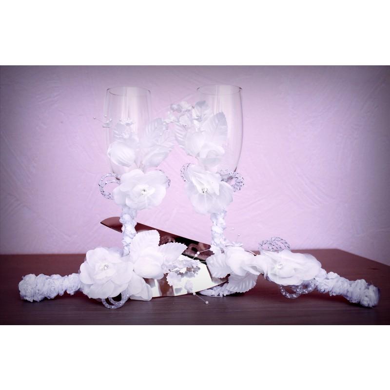 Flute coupe champagne mariage fleur perle noeud scintillant - Coupe de mariage ...