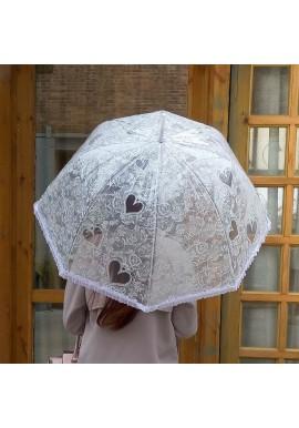 Parapluie_ Cloche_ Transparent_ Dentelle_ Coeur_ Volant_ Blanc