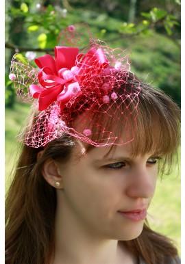 Serre Tête Bibi Mariage Fleur Perles Moucheté Rose Fushia