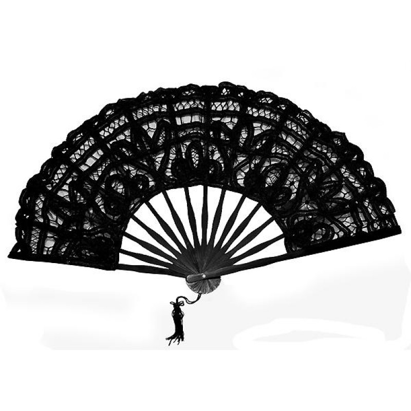 eventail mari e coton broderie dentelle floral mariage blanc noir. Black Bedroom Furniture Sets. Home Design Ideas