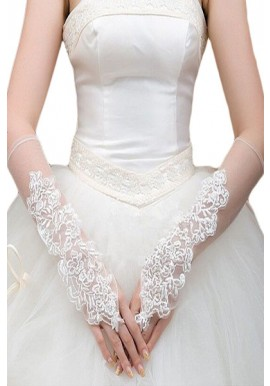 Gants Mitaines Blanc Voiles Longs Broderie Floral
