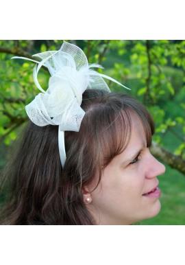 Serre tête Mariage Bibi Fleur Plume Ivoire