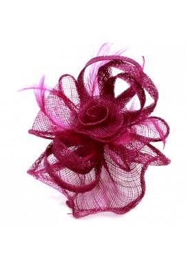Pince Broche Mariage Fleur Plumes Panier Noeuds Violet