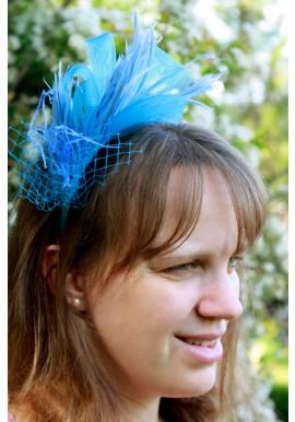 Serre Tête Mariage Bibi Tulle Plume Filet Bleu Ciel