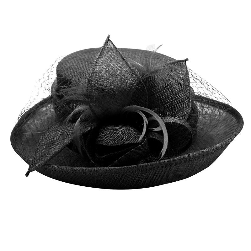 Chapeau Fleur Bouton Voilette Plume Mariage Noir