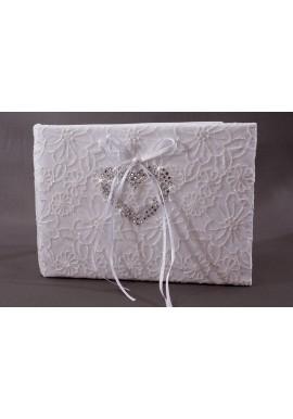 Livre d'Or Mariage Blanc Broderie Fleur Coeur Strass