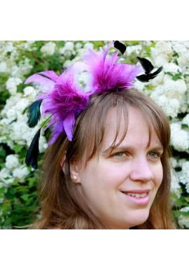 Serre Tête Mariage Bibi Tulle Plume Violet