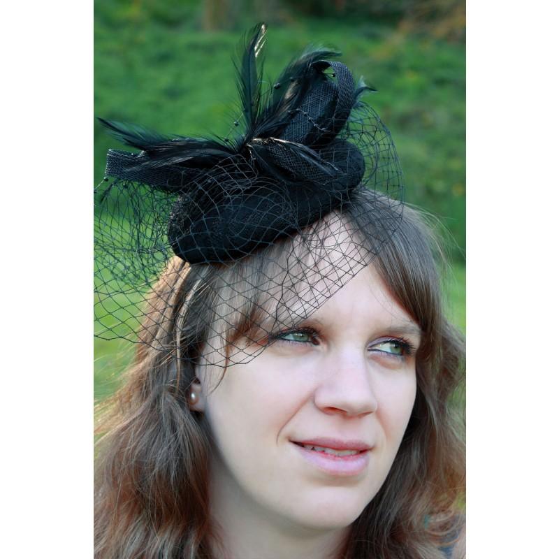serre tte chapeau bibi mariage filet plumes noir - Serre Tete Chapeau Mariage