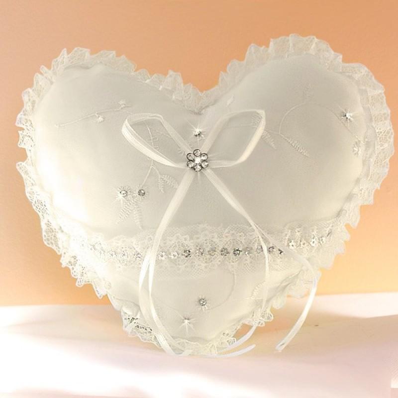 Coussin mariage porte alliances coeur strass ivoire blanc - Porte alliance mariage ...