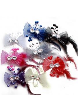 Pince Mariage Tulle Strass Perles Scintillant (Bleu, Rose, Ivoire, Rouge, Violet, Gris, Noir, Blanc)