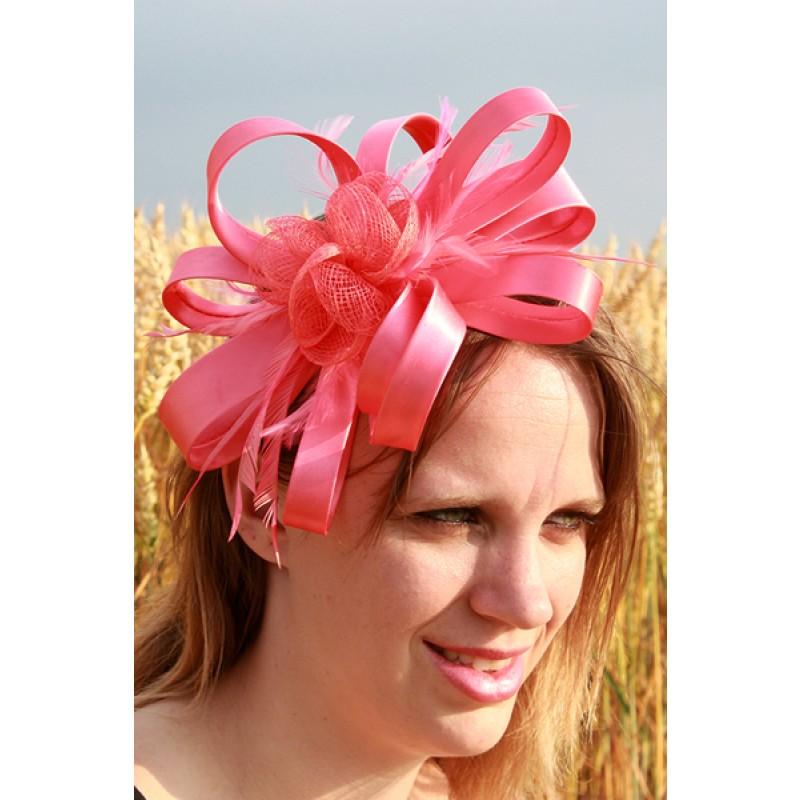 serre tte chapeau ruban noeud bibi mariage plumes rose corail - Serre Tete Chapeau Mariage