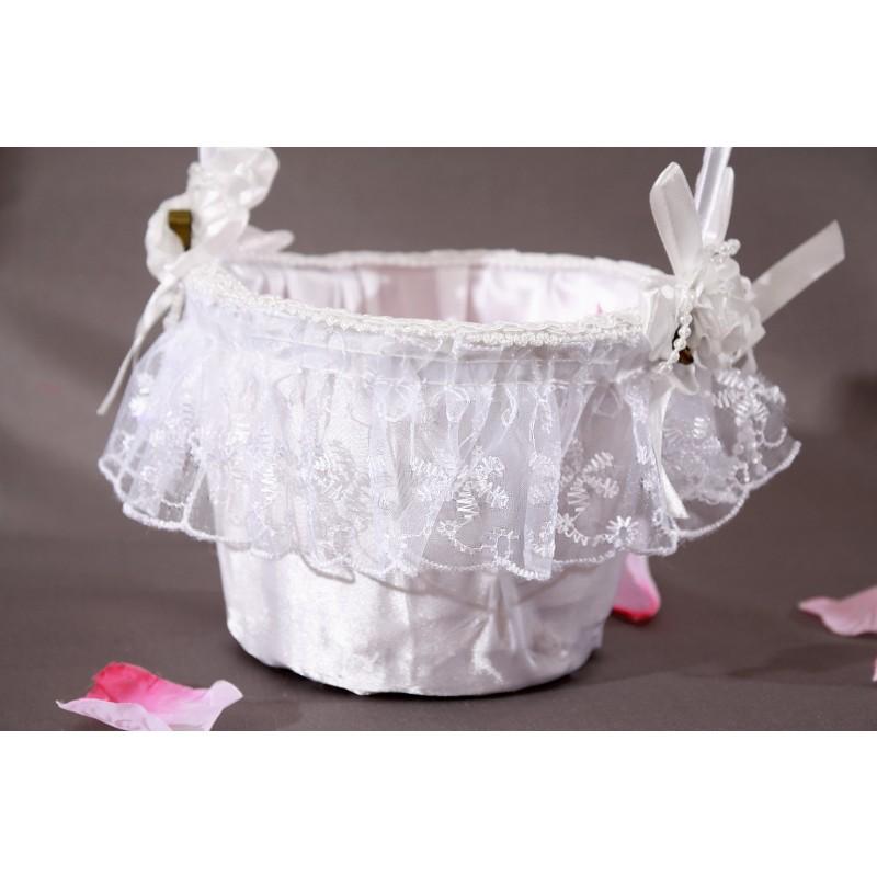 panier mariage osier blanc noeud perles dentelle satin. Black Bedroom Furniture Sets. Home Design Ideas