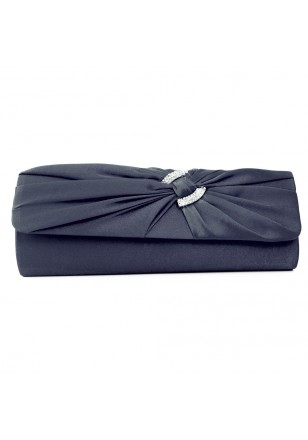 pochette mariage satin noeud boucle strass bleu noir. Black Bedroom Furniture Sets. Home Design Ideas