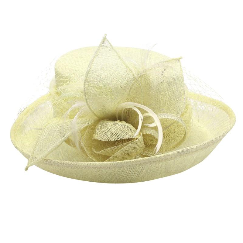 Chapeau Fleur Bouton Voilette Plume Mariage Ivoire