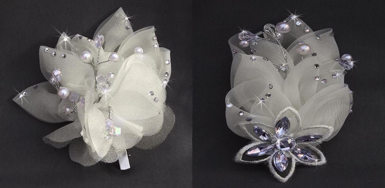 ensemble pince broche mariage fleur strass ivoire. Black Bedroom Furniture Sets. Home Design Ideas