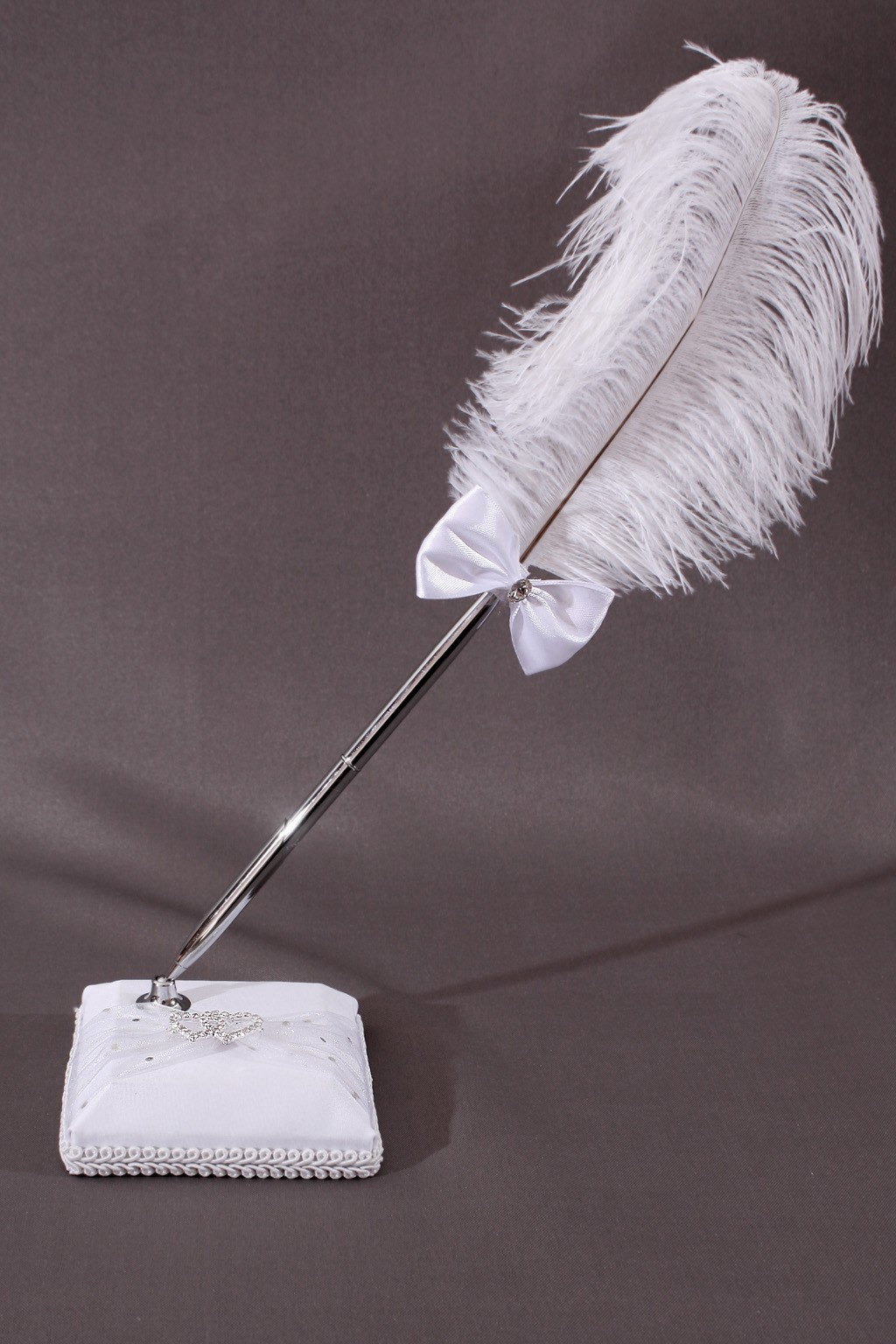 porte stylo plume mariage blanc coeur strass ruban. Black Bedroom Furniture Sets. Home Design Ideas
