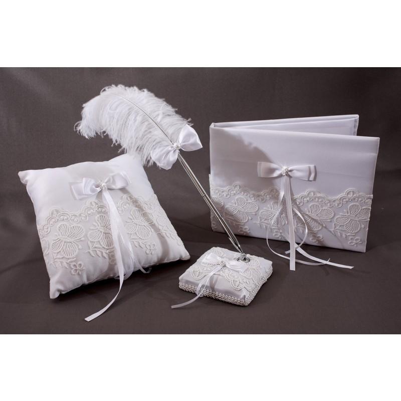 coussin mariage porte alliances blanc noeud broderie papillon. Black Bedroom Furniture Sets. Home Design Ideas