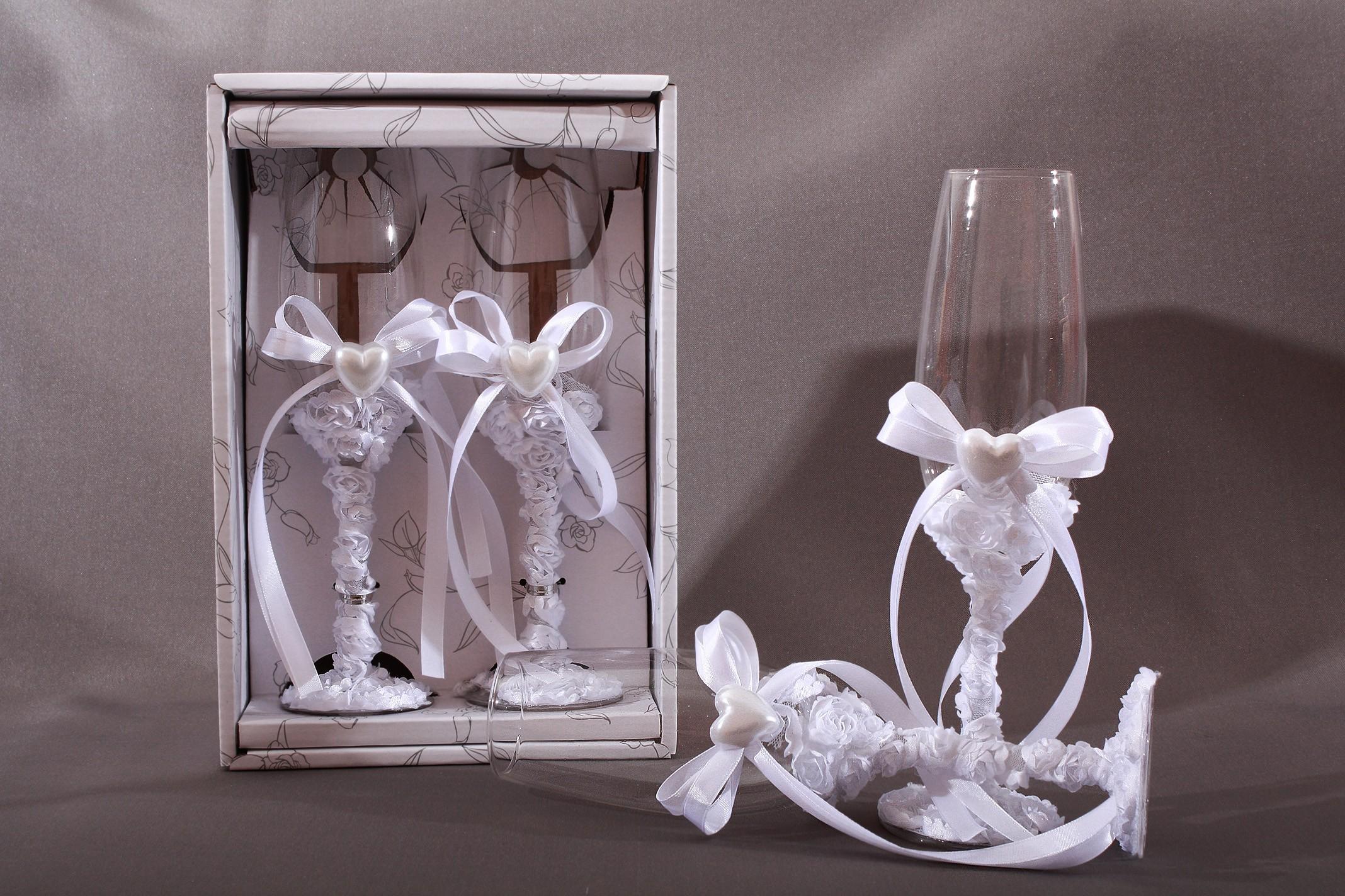 Flute coupe champagne mariage fleur coeur ruban - Coupe de mariage ...