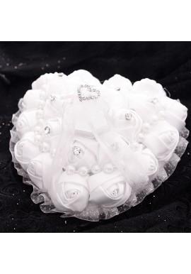 Coussin Coeur Porte Alliances Couvercle Diamant Blanc