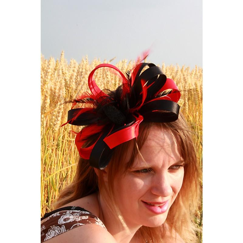 serre t te chapeau ruban noeud bibi mariage plumes rose noir rouge ivoire. Black Bedroom Furniture Sets. Home Design Ideas