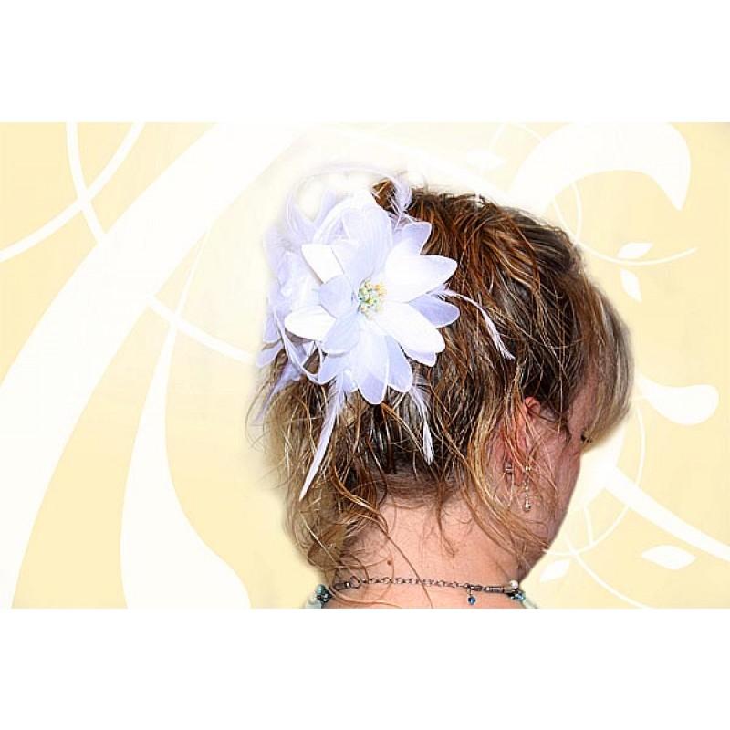 gamme exclusive meilleur endroit choisir l'original Pince Cheveux Crabe Mariage avec Plumes (Noir, Blanc)
