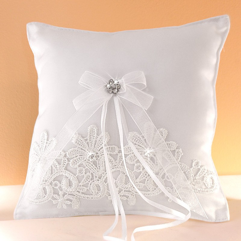 coussin mariage porte alliances noeud ruban blanc strass borderie. Black Bedroom Furniture Sets. Home Design Ideas