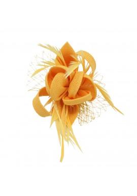 Pince Broche Mariage Fleur Plumes Etoile Voilette Jaune
