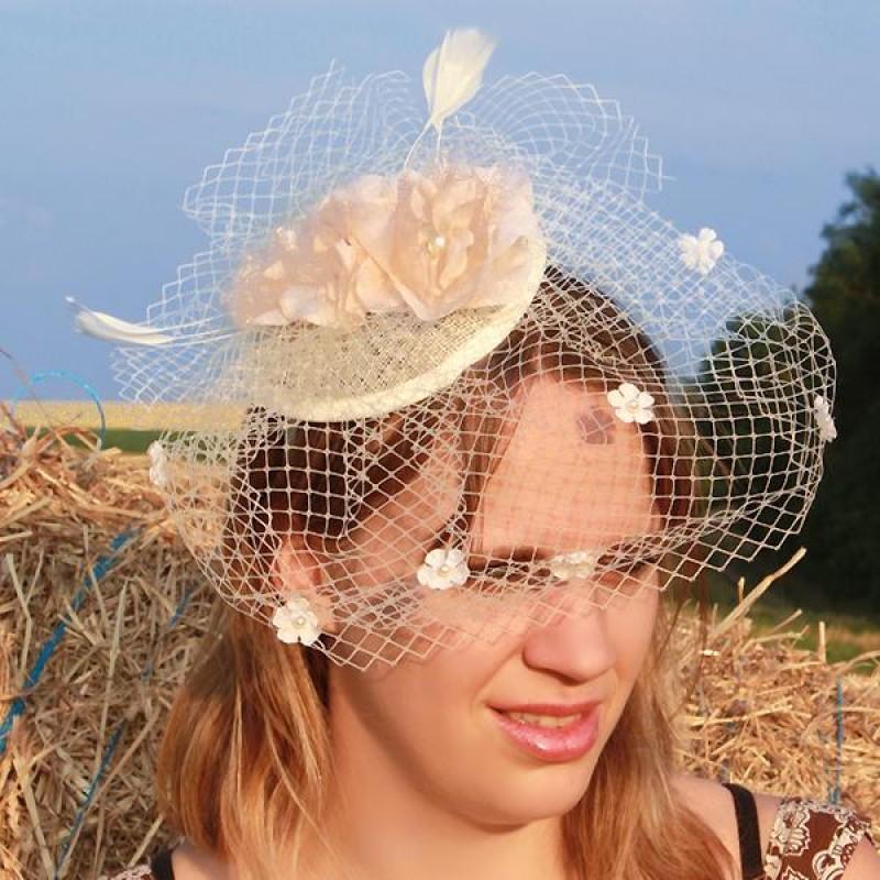 serre tte chapeau bibi mariage voilette perles fleur plumes beige - Bibi Mariage Voilette