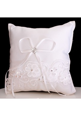 Coussin Mariage Porte Alliances Noeud Ruban Ivoire Strass Borderie