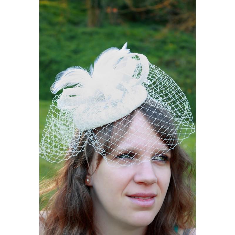 serre tte chapeau bibi mariage filet plumes ivoire - Serre Tete Chapeau Mariage