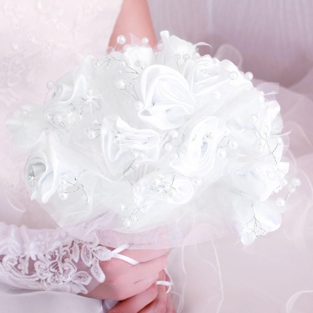 Bouquet mari e satin fleur perle strass tulle blanc - Strass pour bouquet de mariee ...