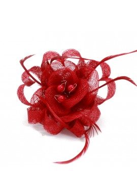 Pince Broche Mariage Fleur Plumes Ruban Rond Perles Rouge