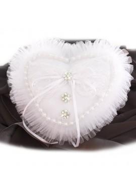 """Coussin Coeur Porte Alliances Modèle """" Princesse"""" Perles Dentelle Blanc"""